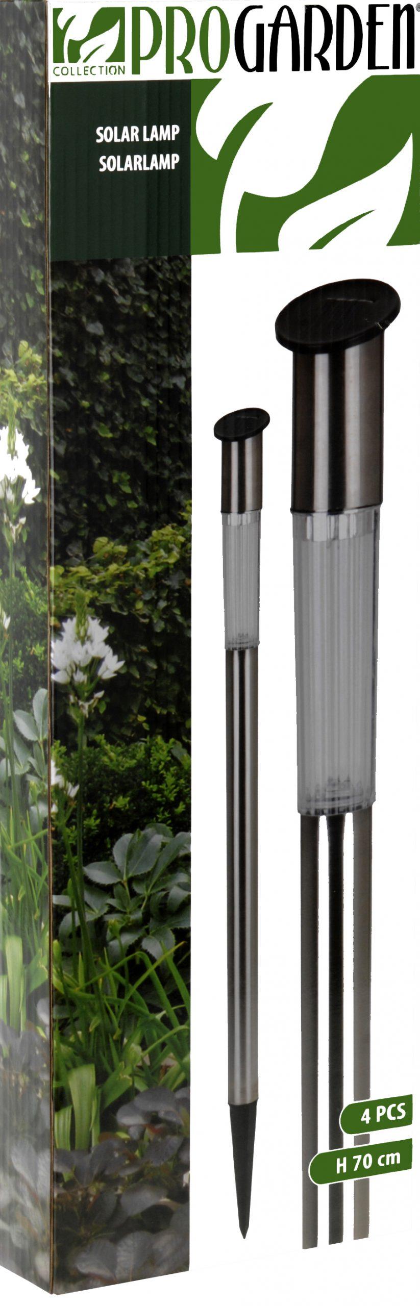 ProGarden Set van 4 RVS solarlampen (70cm)